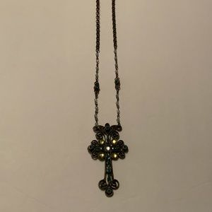 Jewelry - Long rosary style cross necklace